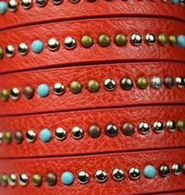 1 Meter 10x2.5mm Studded Flat Leather : Red