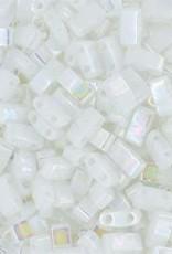 10 GM 5mm Tila 1/2 Cut : Opaque White Pearl (APX 250 PCS)