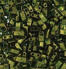 10 GM 5mm Tila 1/2 Cut : Olive Green Luster (APX 250 PCS)