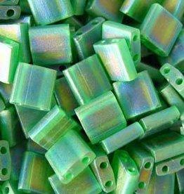 10 GM 5mm Tila Bead : Matte Transparent Green AB (APX 110 PCS)