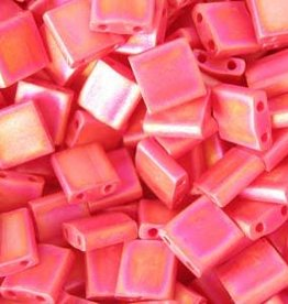 10 GM 5mm Tila Bead : Matte Opaque Red AB (APX 110 PCS)