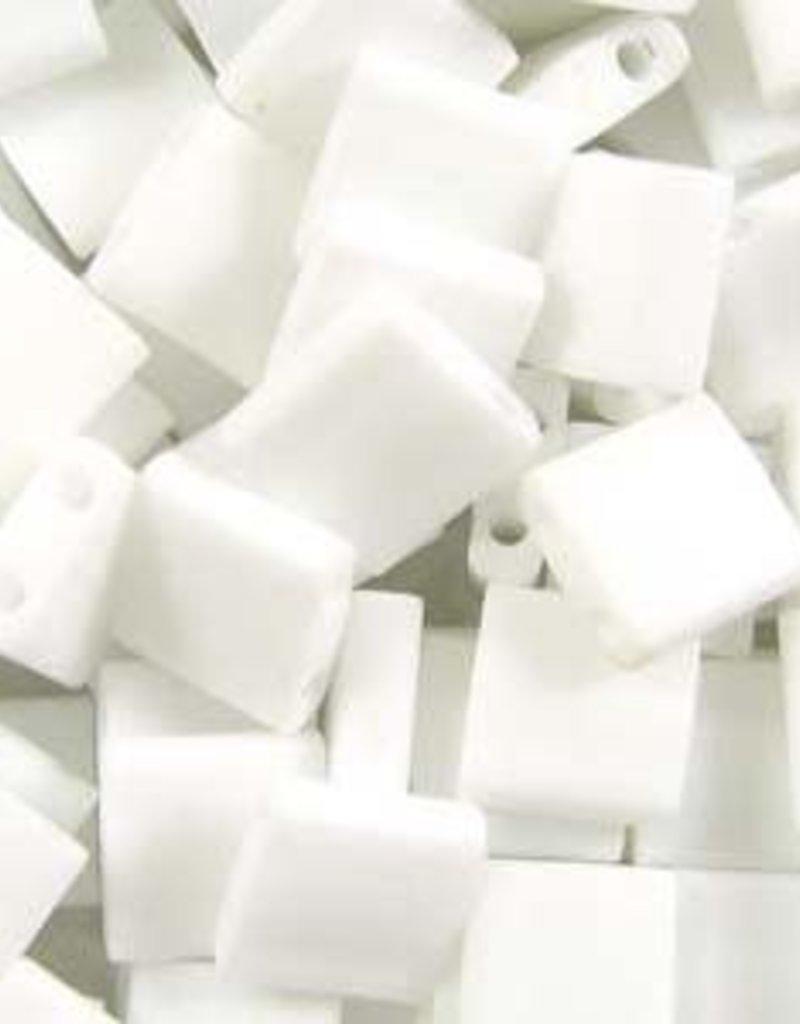 10 GM 5mm Tila Bead : Matte Opaque White (APX 110 PCS)
