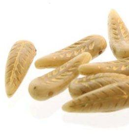 25 PC 5x17mm Bird Feather : Beige Gold