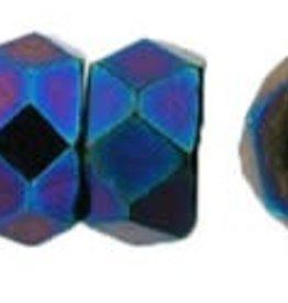 50 PC Firepolish 6x3mm Rondell : Blue Iris