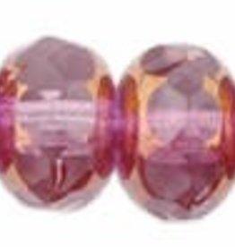 25 PC Firepolish Donut 5x7mm : French Rose/Copper