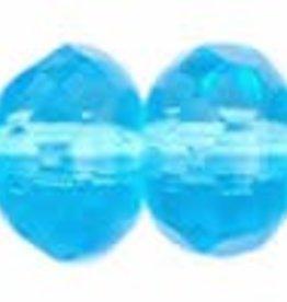 25 PC Firepolish Donut 5x7mm : Aquamarine