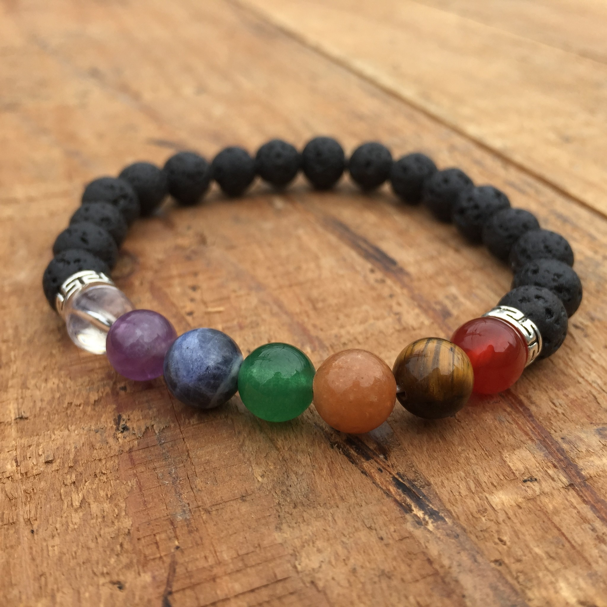 Rainbow Chakra + Lava Bracelet