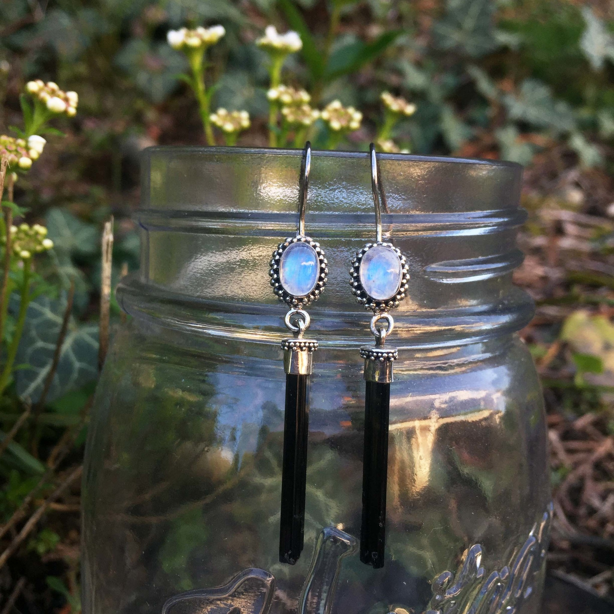Moonstone +Tourmaline Scepter Earrings