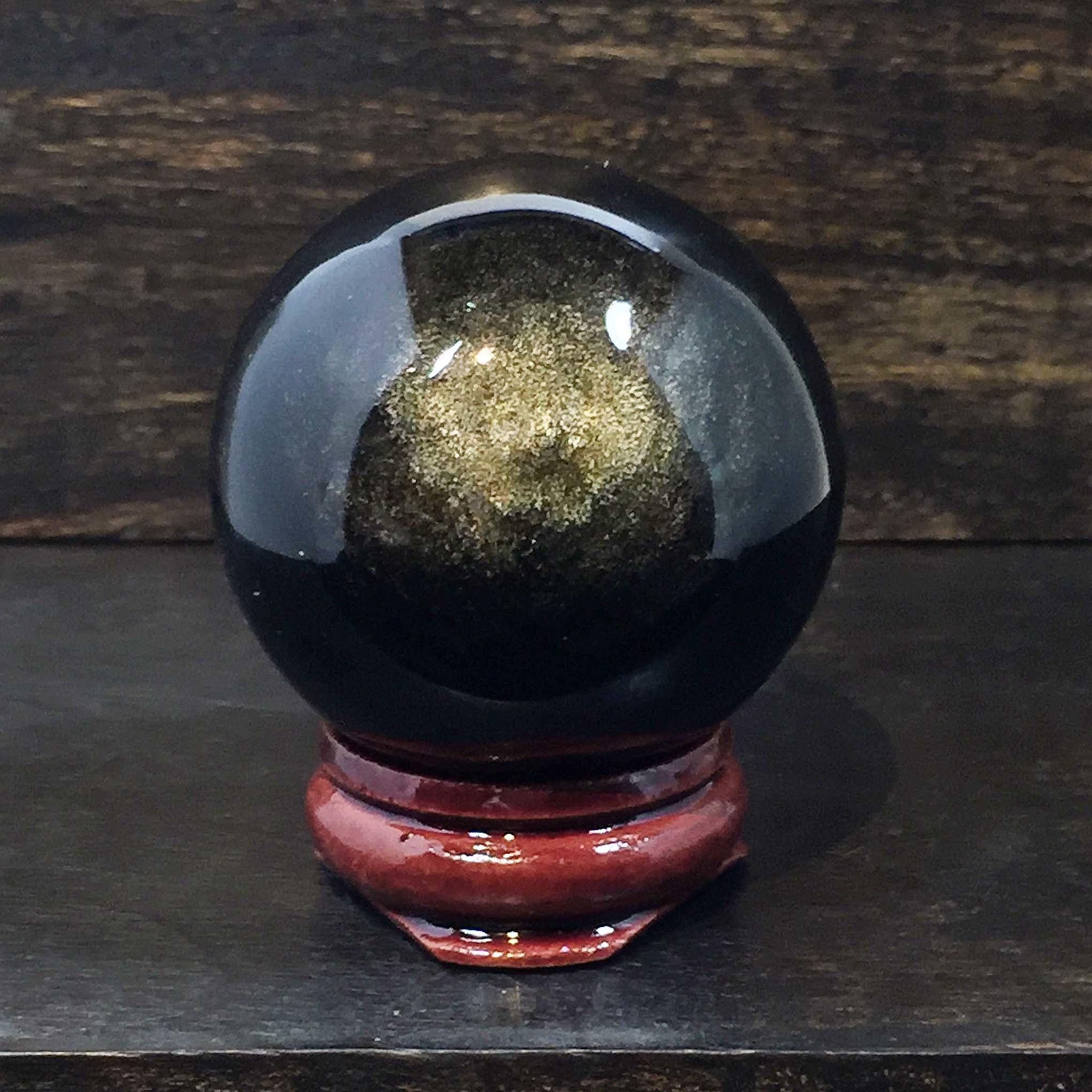 Gold-Sheen Obsidian 40mm Sphere