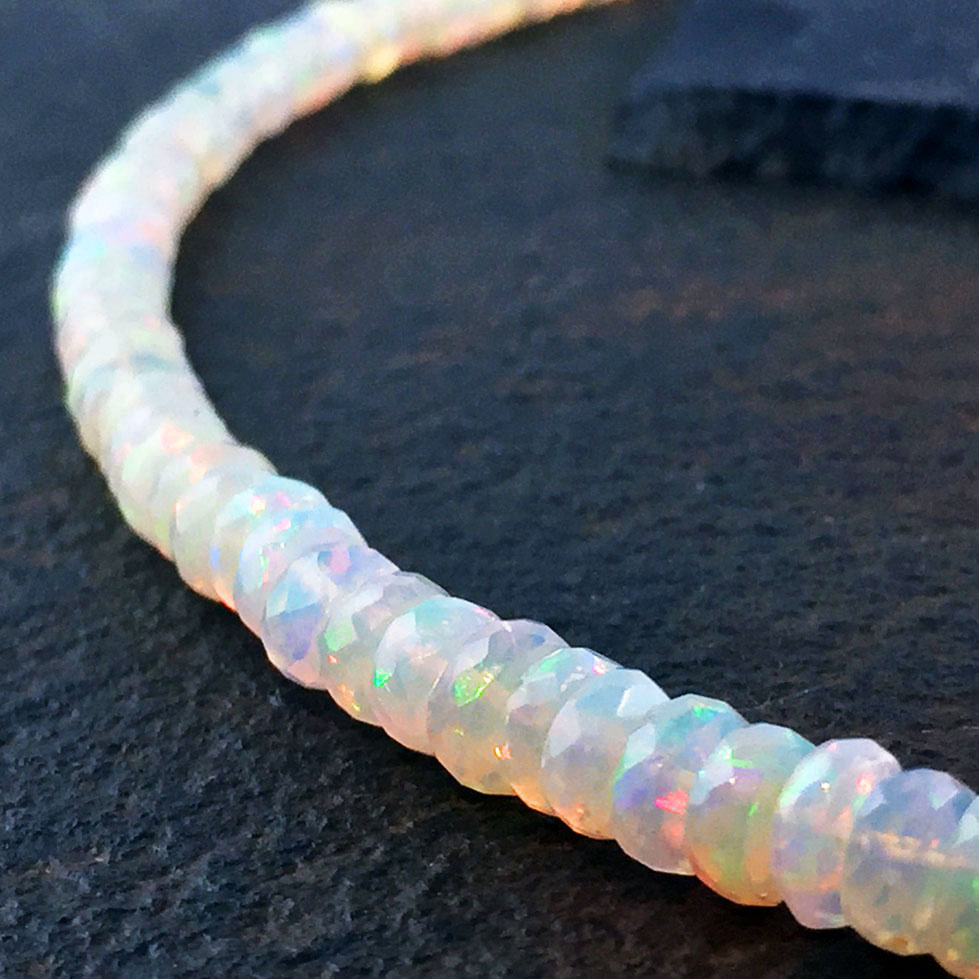 "Welo Opal Faceted 6mm Beaded 17-20"" Necklace"