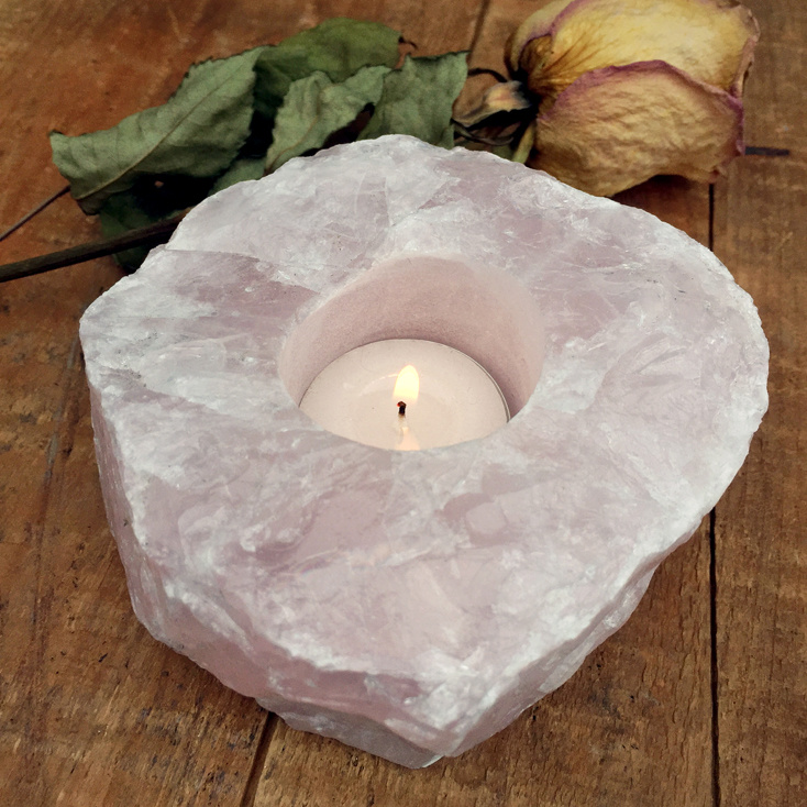 Rose Quartz Rough Crystal Candle Holder