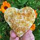 """Citrine Druzy Carved Heart 2.5"""""""