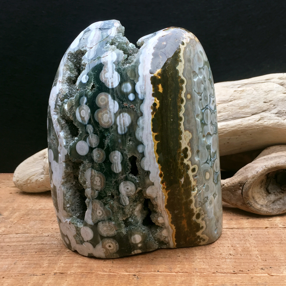 "Orbicular Ocean Jasper 4.5"" Double-Pointed Freeform"