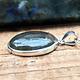 "Teal & Purple Labradorite 25mm Oval Pendant on Box Chain 18"""
