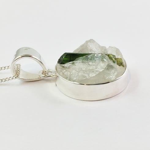 "Green Tourmaline in Quartz Rough Crystal Round Pendant on  Chain 18"""