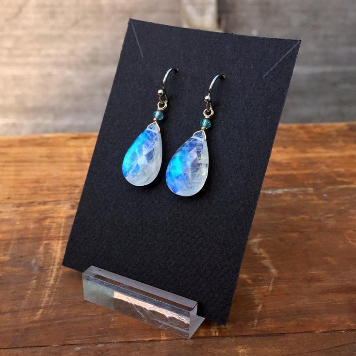 Rainbow Moonstone + Apatite 18mm Faceted Earrings