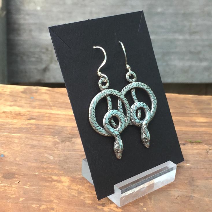 -SOLD-  Coiled Snake 35mm Dangle Earrings