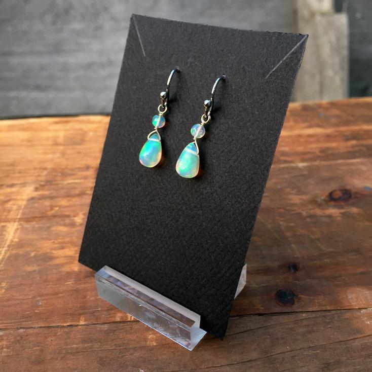Opal Teardrop 10mm Dangle Earrings