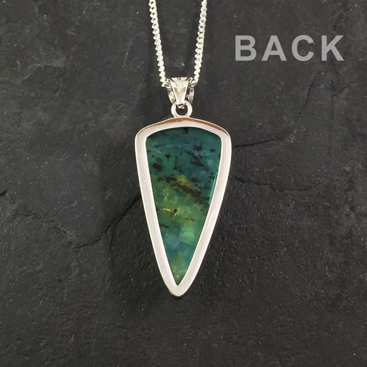 """-SOLD- Andean Opal 28mm Triangle Pendant on 18"""" Chain"""