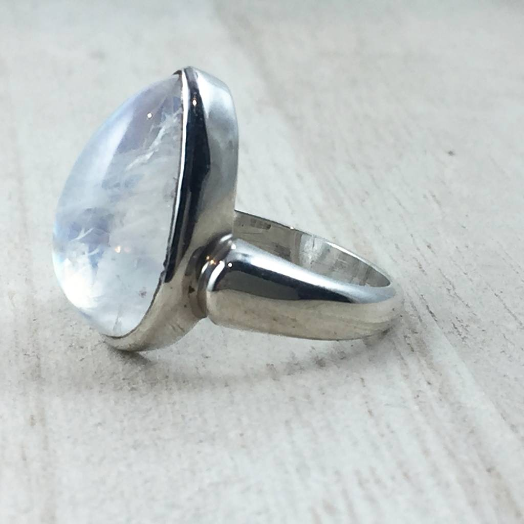 TWS Rainbow Moonstone Cab Pear Ring, Size 6.5