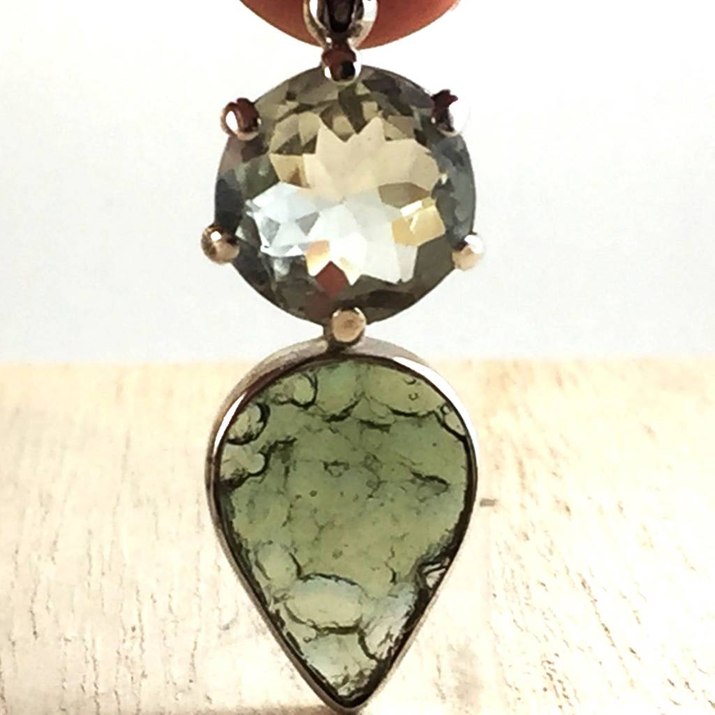 -SOLD- Moldavite + Quartz Space-Kissed Pendant