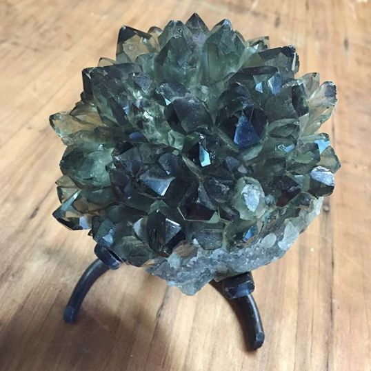Prasiolite Cluster on Iron Claw Stand