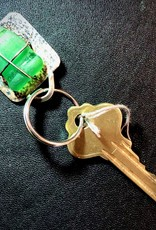 KKB Designs KKB Designs Sterling Silver Key Ring (Green Beach Glass)
