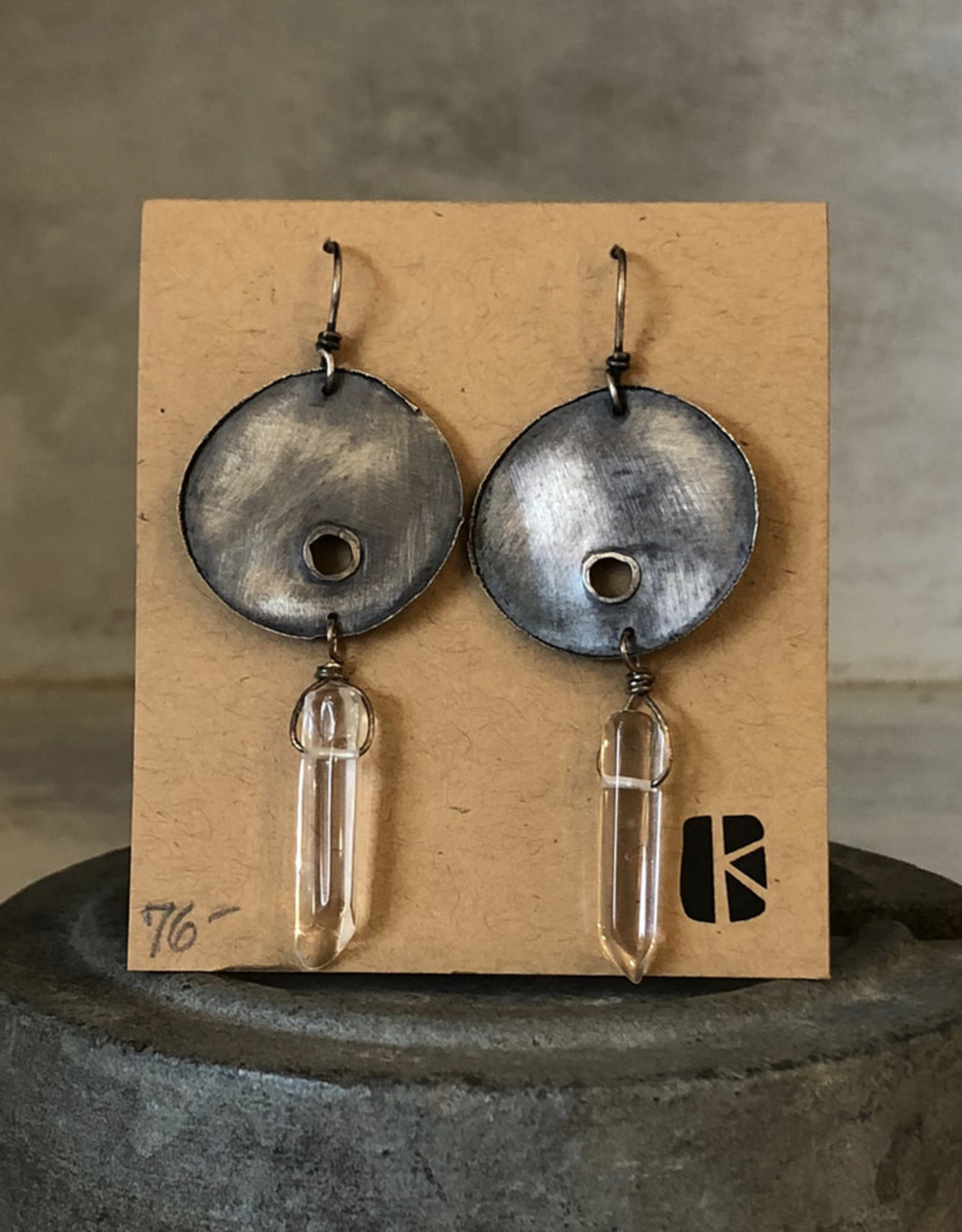 KKB Designs Punctured Circle & Crystal Drop Earring