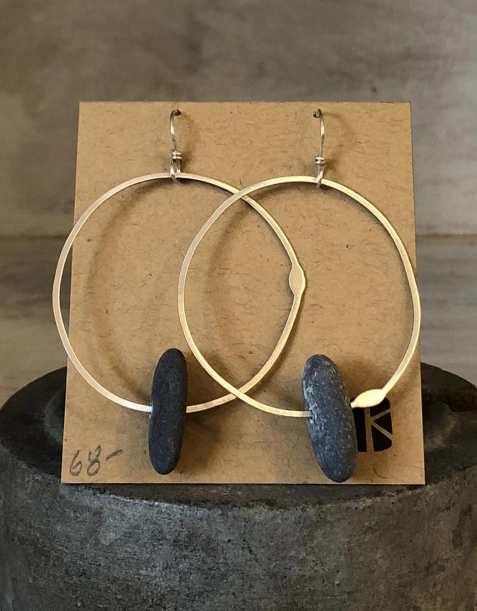 KKB Designs Sterling Hoop & Beach Stone Earrings