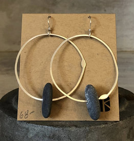 KKB Designs Sterling Hoop & Beach Stone Earrings