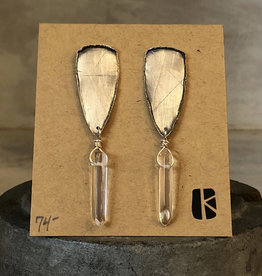 KKB Designs Triangle Post & Crystal Drop Earring