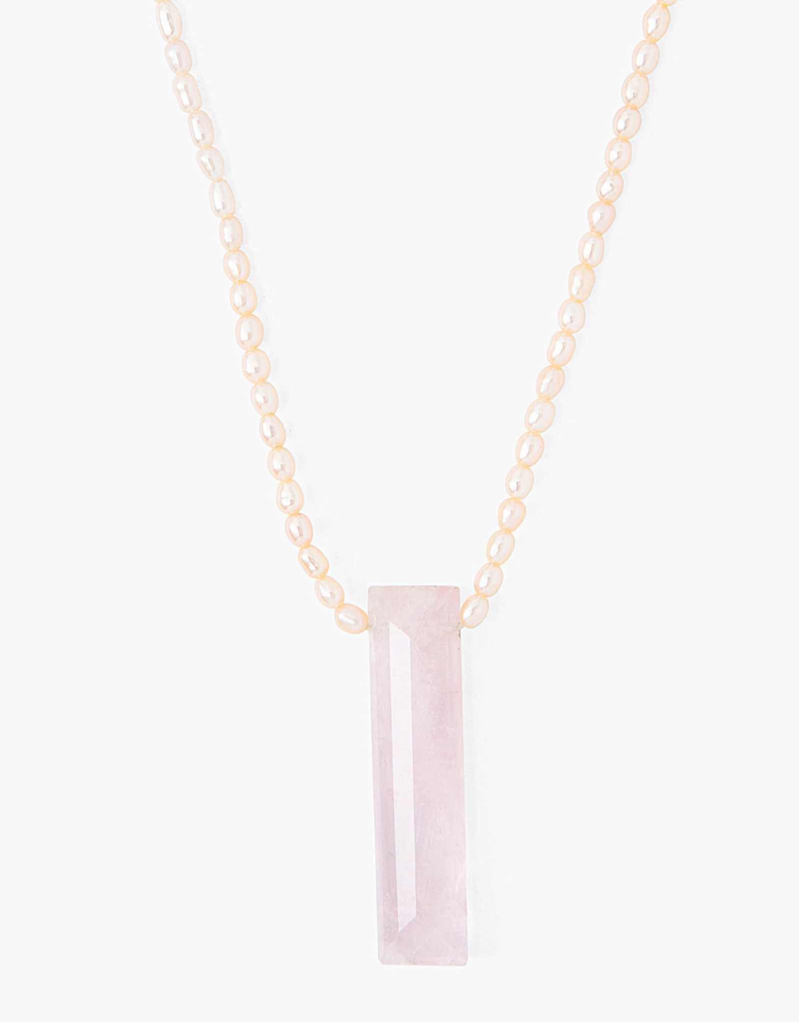 Chan Luu Freshwater Pearl Necklace (Rose Quartz Drop)