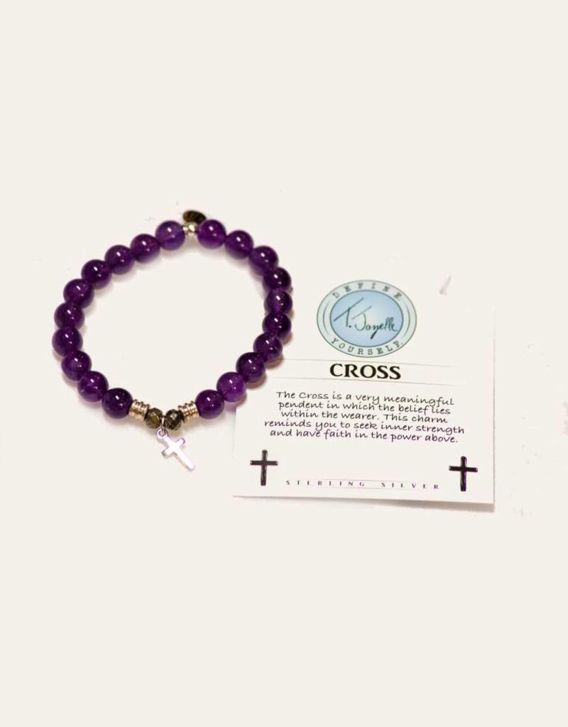 T Jazelle Amethyst Cross Bracelet