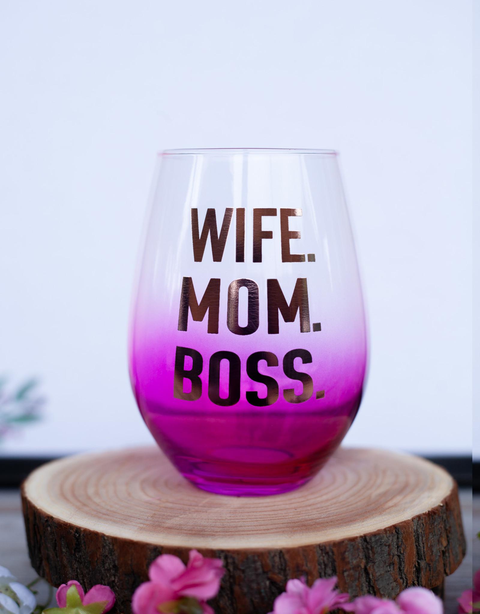 slant collection Wife. Mom. Boss. 30oz Wine