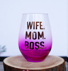 slant collection Wife. Mom. Boss. 30oz Wine