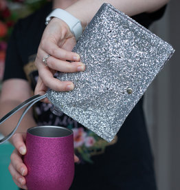 slant collection Silver Flask Clutch