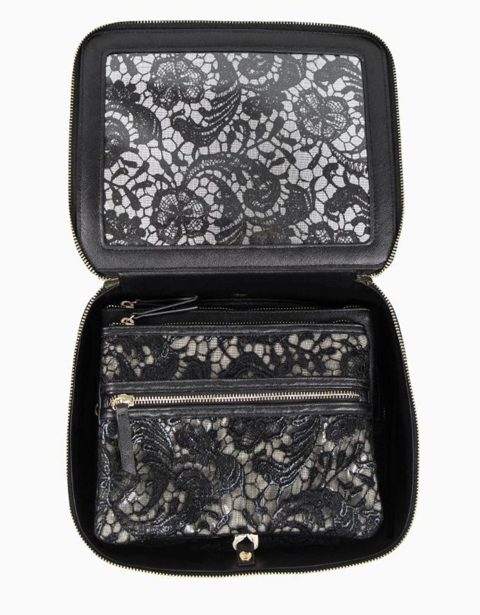 purseN Ava Travel Case - Black Lace