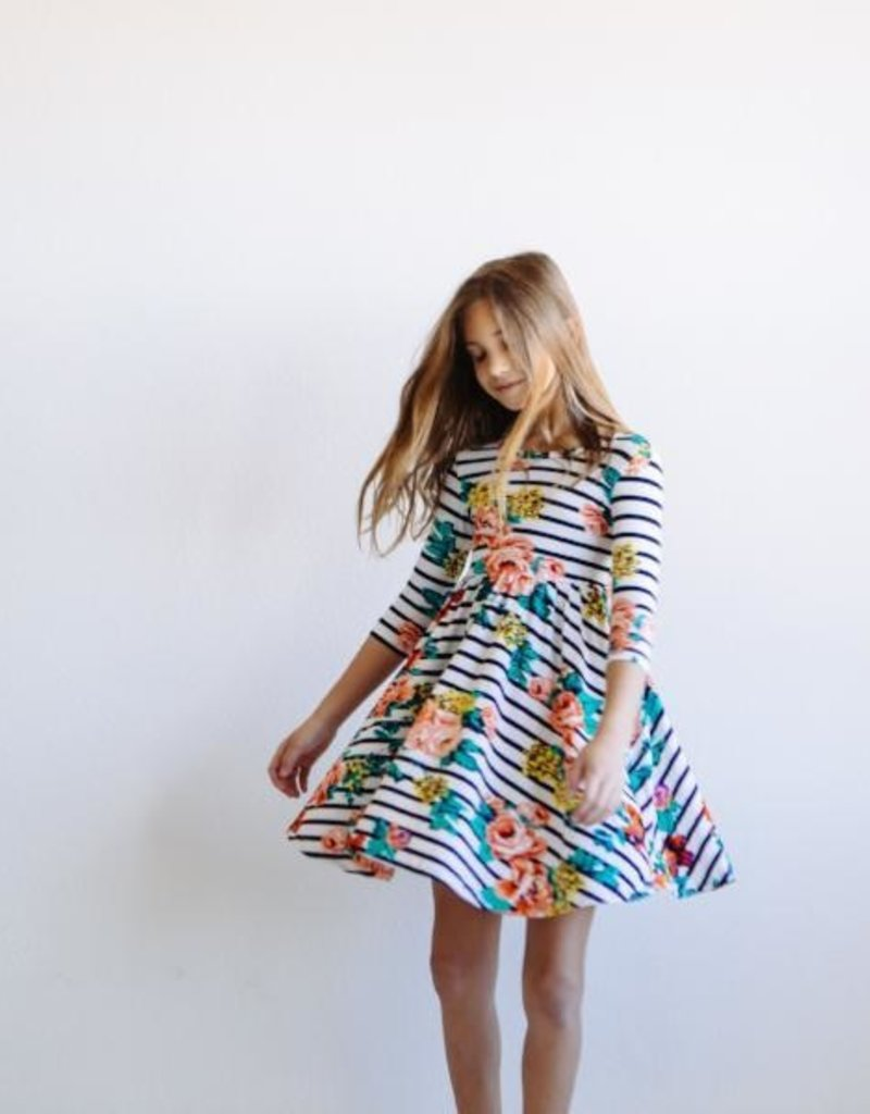 Mila & Rose Stripe Floral Twirl Dress