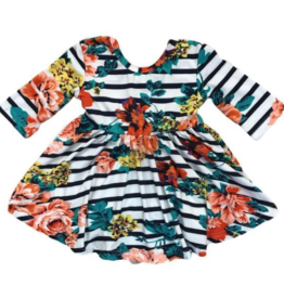 Mila & Rose Stripe Floral Twirl Dress