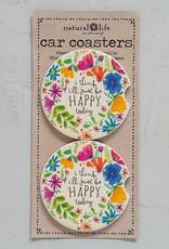 Natural Life Car Coaster - Happy Today