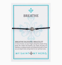 my saint my hero Breathe Blessing Bracelet - Black/Silver