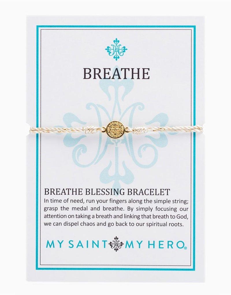 my saint my hero Breathe Blessing Bracelet - White/Gold