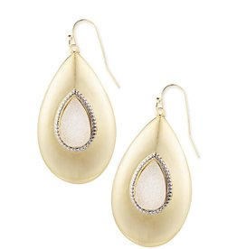 Natalie Wood Designs She's A Gem Drop Earrings - White Drusy