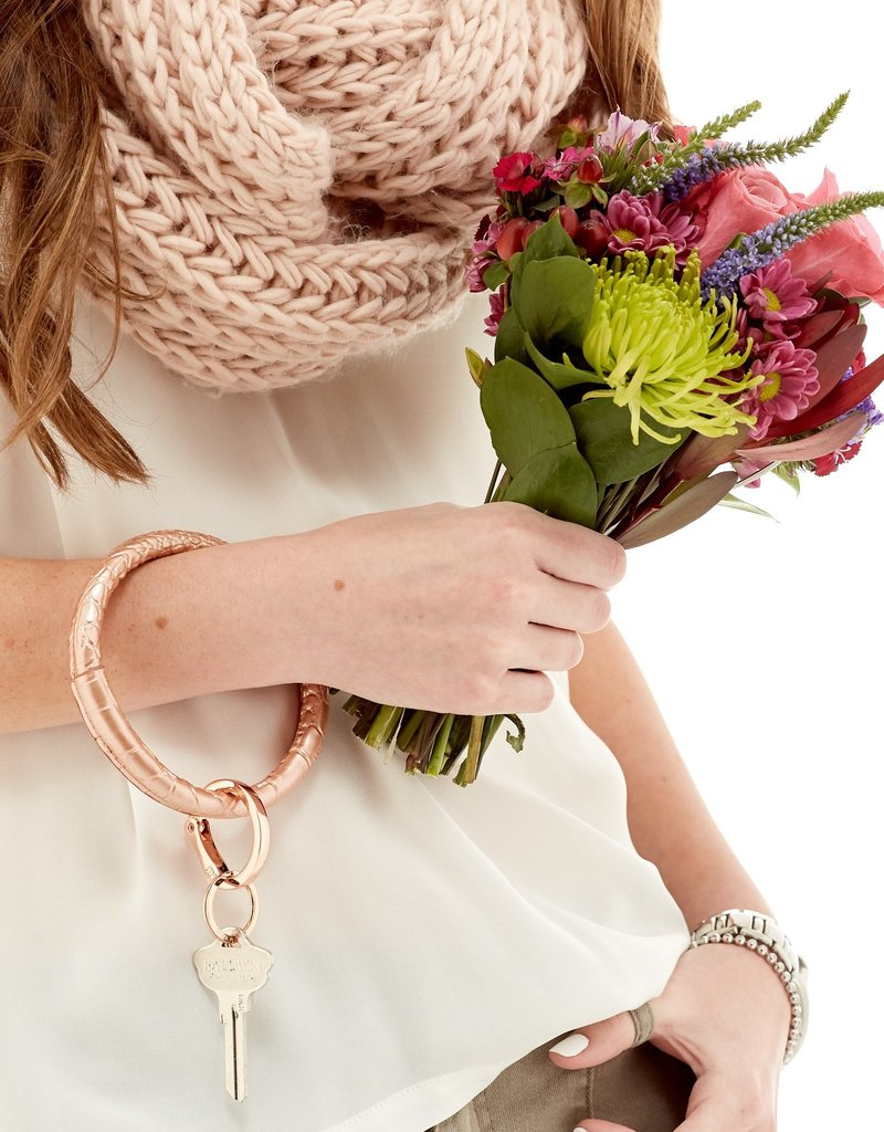 O-Venture Leather O-Ring Solid Rose Gold Croc Embossed