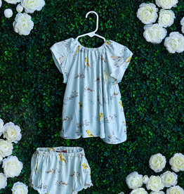 Milkbarn Blue Bird Dress Set