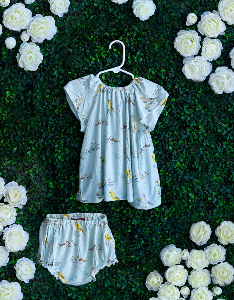 Milkbarn Blue Bird Dress Set