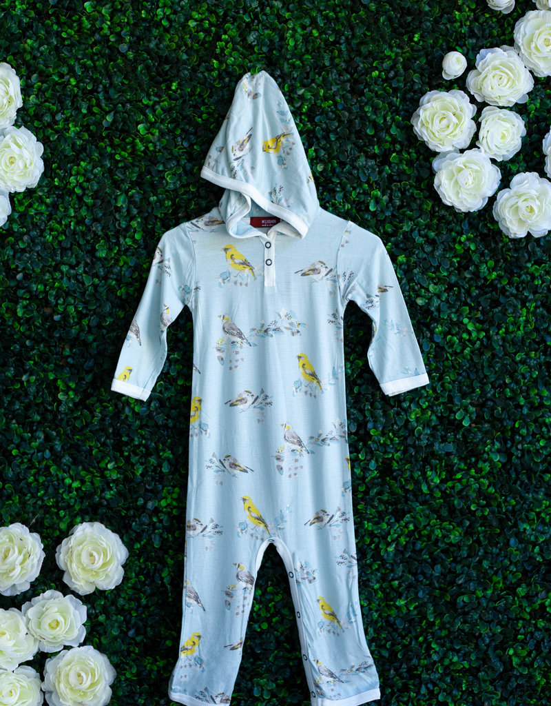 Milkbarn Blue Bird Hooded Romper