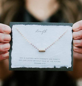 Dear Heart Strength Necklace - Gold