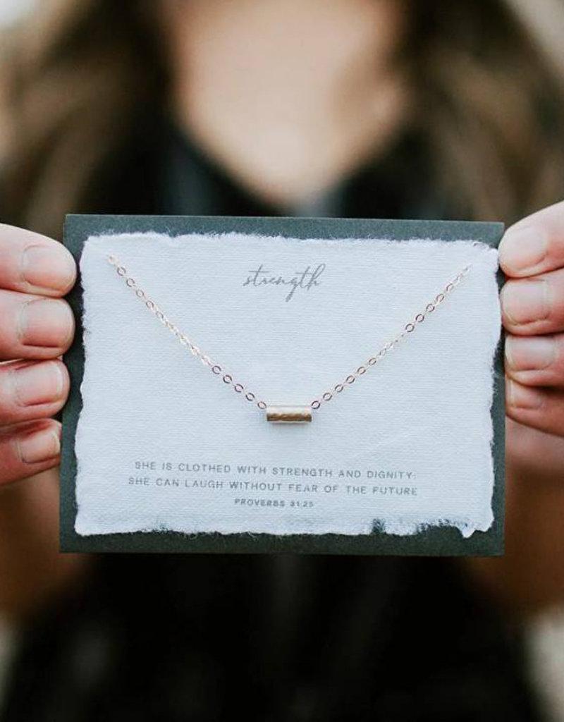 Dear Heart Strength Necklace - Gold