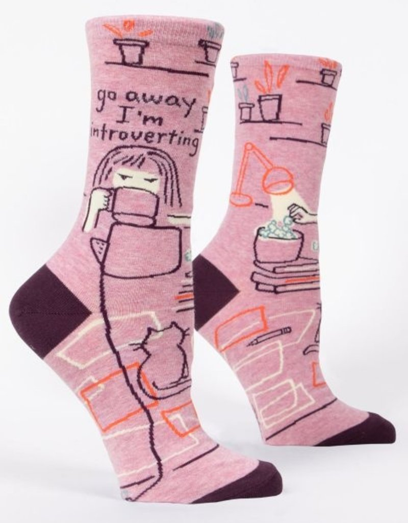 Blue Q Go Away Introverting Crew Socks